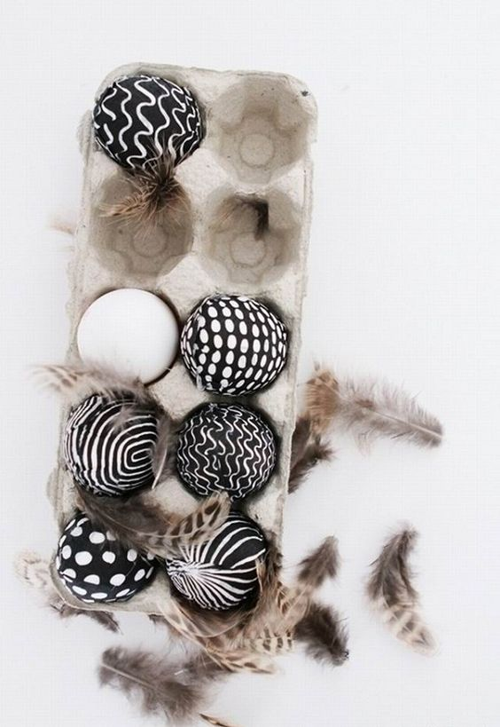 black and white printed Easter eggs