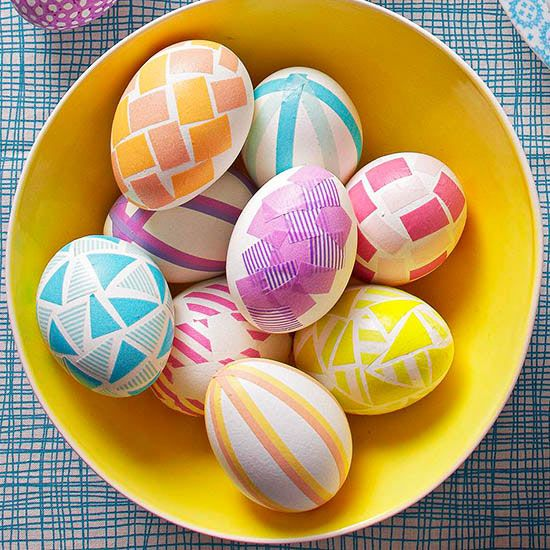 bold geometric Easter eggs with contact paper