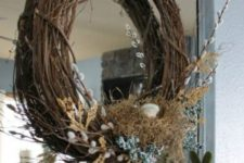 05 grapevine wreath with burlap, willow, faux flowers and eggs