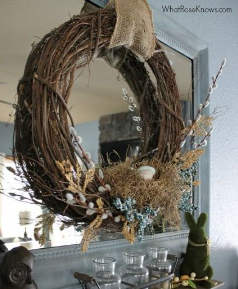 grapevine wreath with burlap, willow, faux flowers and eggs