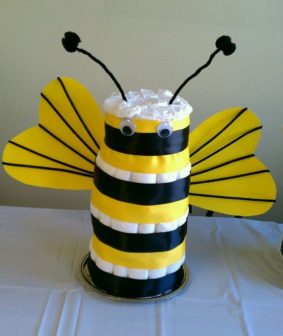 mommy to bee diaper cake as a colorful centerpiece