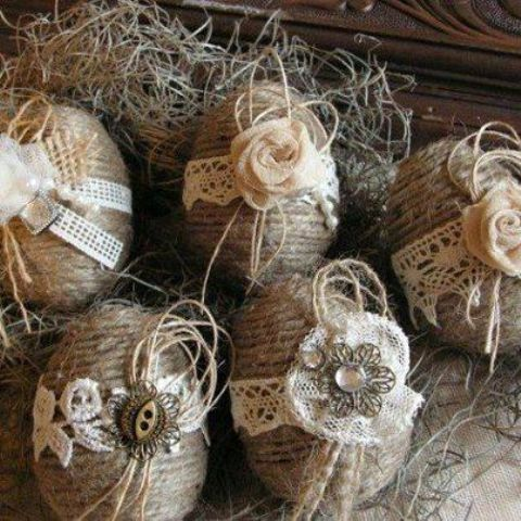 twine eggs with lace and vintage buttons are vintage and rustic at the same time