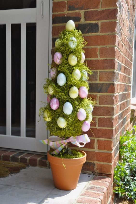 Easter bold egg topiary for a fun touch