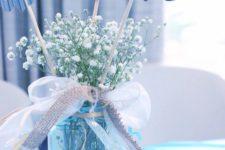 06 a mason jar, baby's breath, paper elephants, ribbon bows