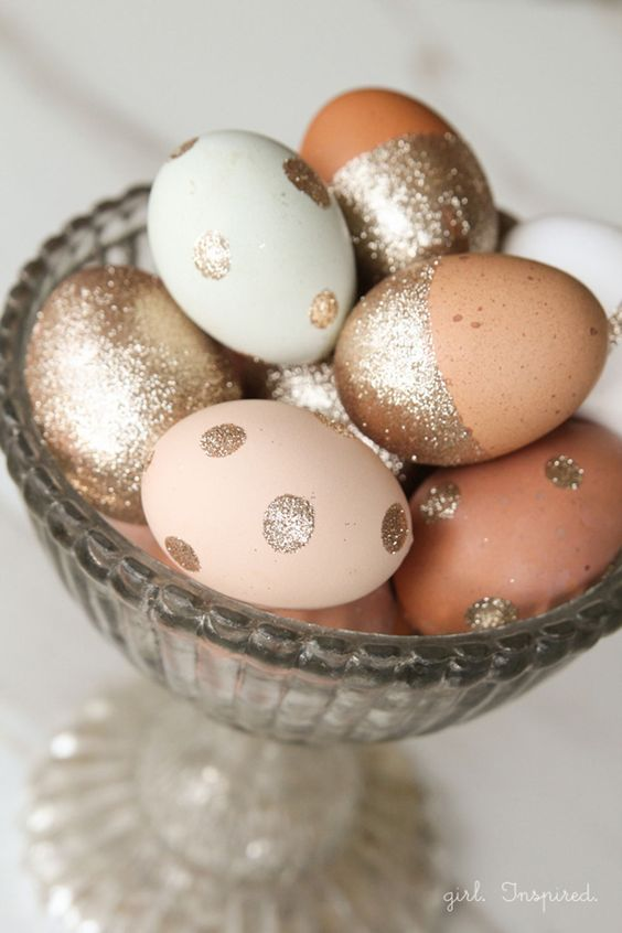 covered, half covered and polka dot champagne glitter eggs
