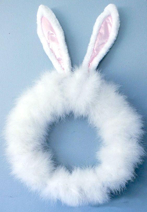 faux fur wreath with ears looks so bunny-like