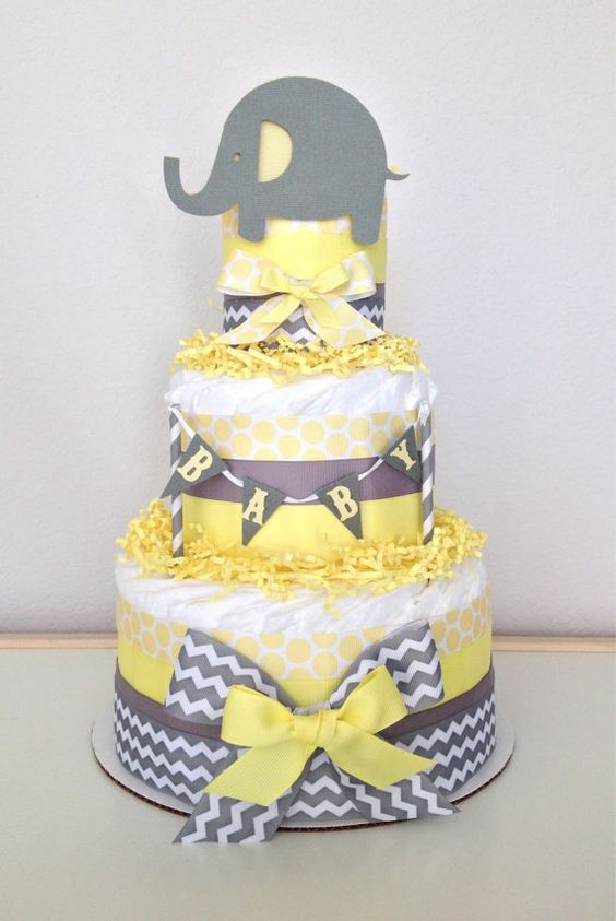 little elephant nappies cake with a banner