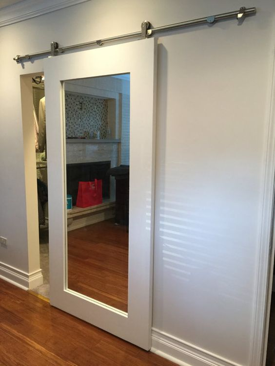 20 mirror closet and wardrobe doors ideas shelterness for Small bathroom entry door ideas