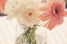 07 a glitter mason jar with blush and pink blooms is great for any girlish event