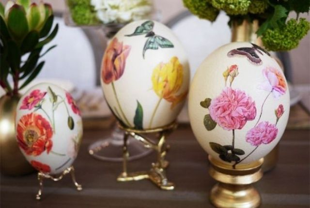 floral decoupage Easter eggs for exquisite decor