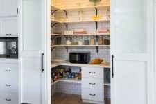 07 sliding barn doors for your pantry and to save kitchen space
