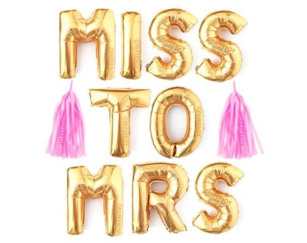 Miss To Mrs tassel garland for bold bachelorette party decor