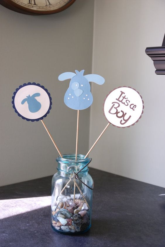 a puppy-themed blue centerpiece is perfect for a boy's shower