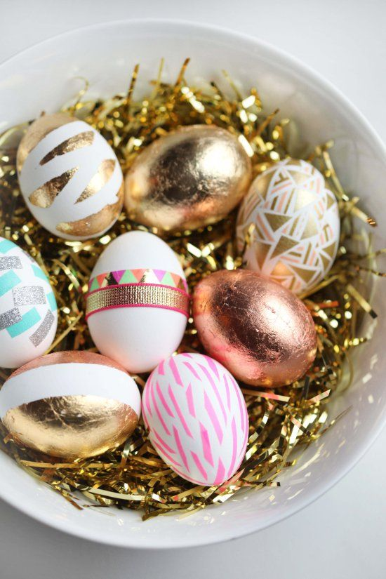 gold foil geometric egg decor is trendy