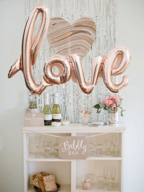 rose gold LOVE letters for a party statement