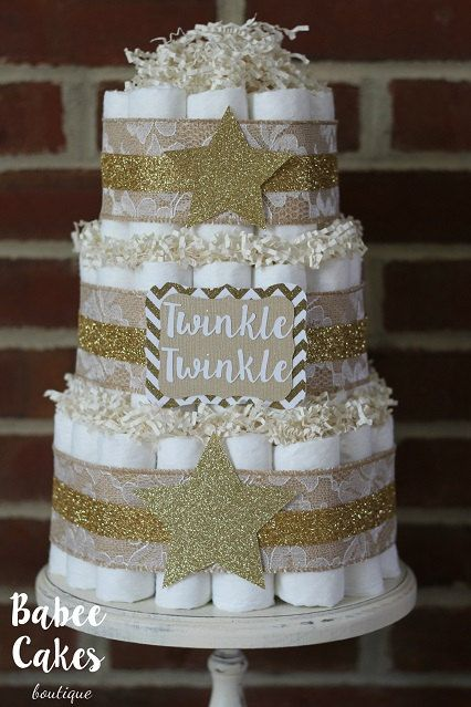 twinkle, little star glitter nappies cake