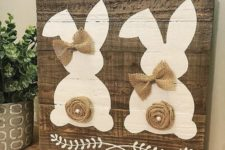 09 adorable dual bunny hand-painted on a reclaimed wood plank sign