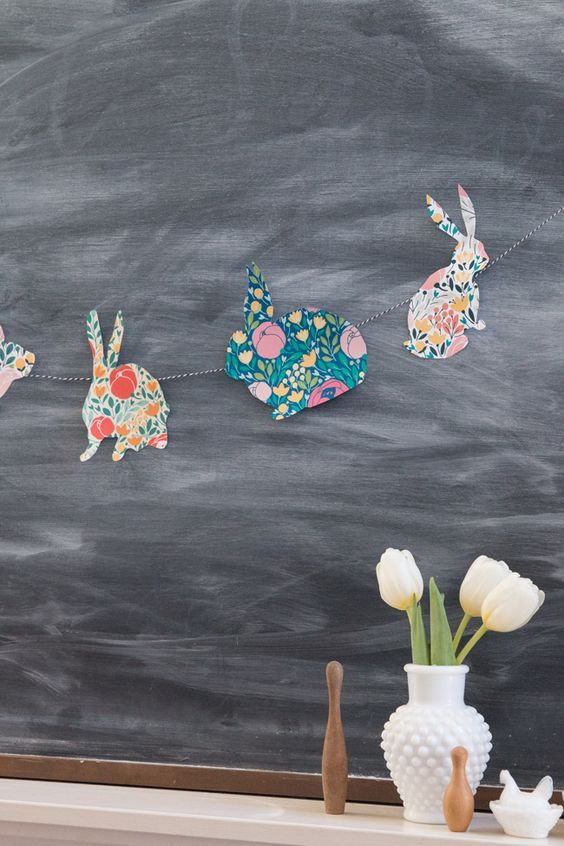floral paper bunny garland is an easy craft