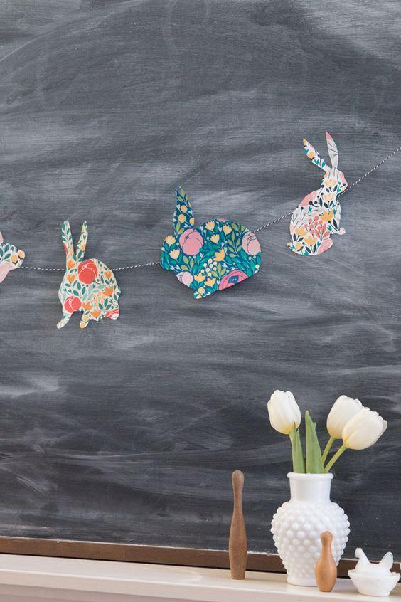 Papel floral bunny guirlanda é um ofício fácil