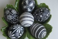 09 patterned black and white Easter eggs