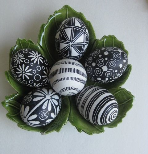 patterned black and white Easter eggs