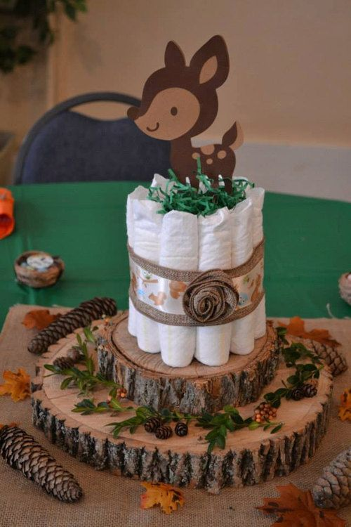 wood slices, pinecones and diapers plus a bamby prop