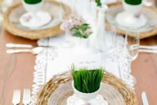 10 a branch platter, sheer plates and grass in cups to hold the cards