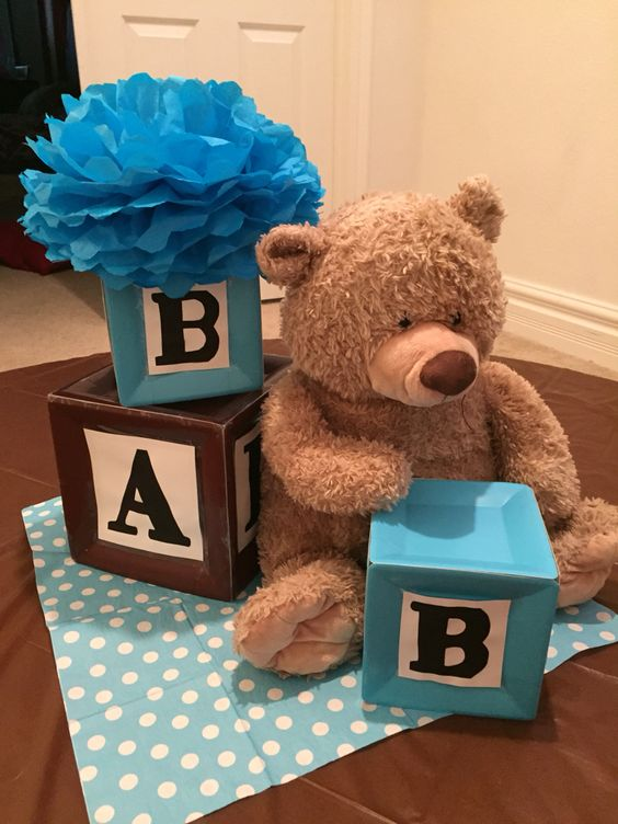 alphabet blocks and teddy bear themed centerpiece