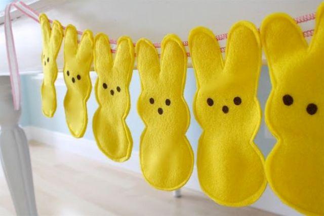 bold yellow Easter bunny garland