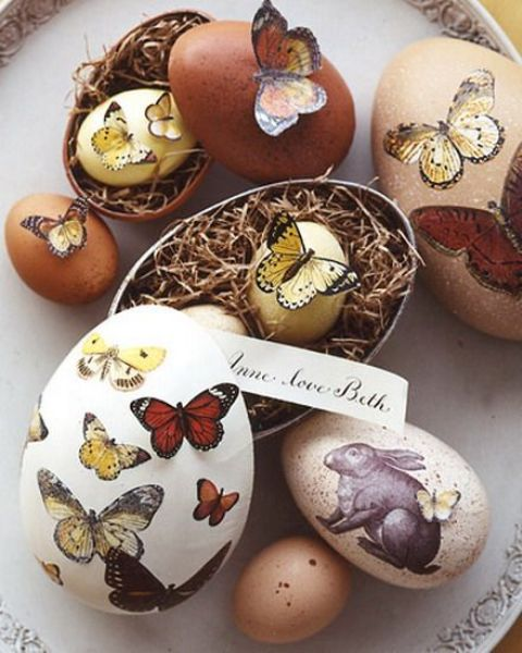 rustic-looking decoupage butterfly Easter eggs in vintage style