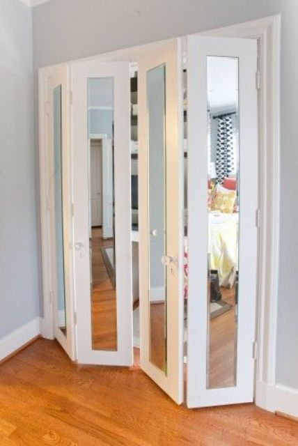 folding mirror closet doors are optimal for any small space