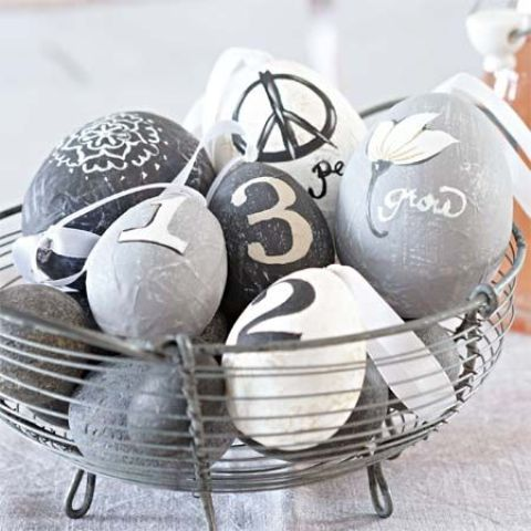 modern wrapped and decaled Easter eggs for decor