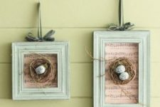 10 vintage frames with music paper and nests with speckled eggs