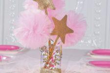 11 a glitter mason jar with pompoms and glitter star props