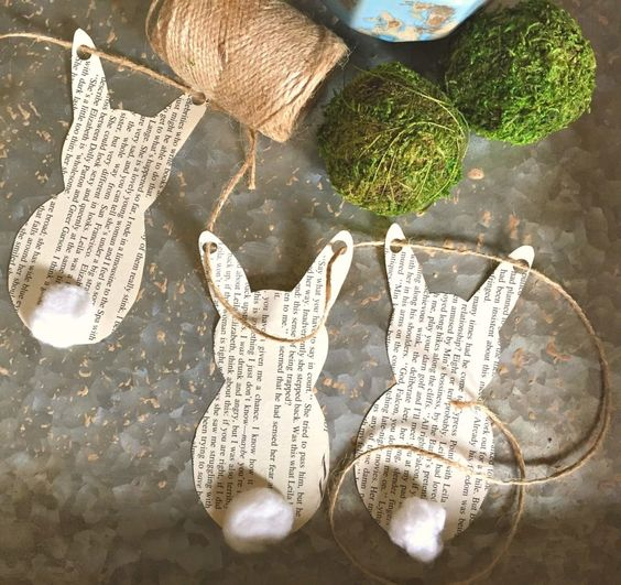 a simple book page bunny garland with tails