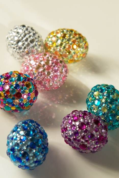 bold rhinestone Easter eggs in various shades