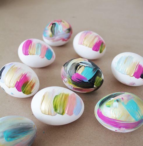 brushstroke Easter eggs in bold shades