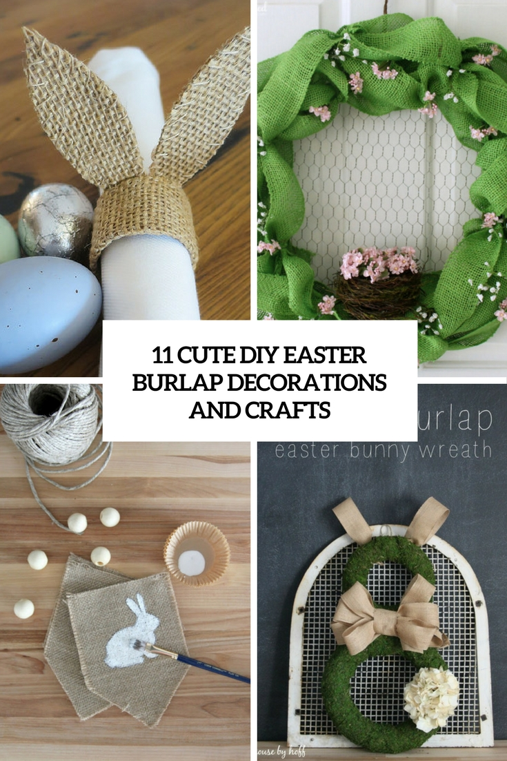 cute diy easter burlap crafts and decorations cover