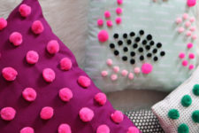 DIY mini pompom decorated pillows