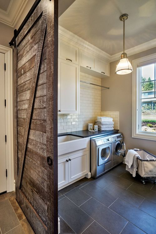 reclaimed barn door to add a farmhouse touch
