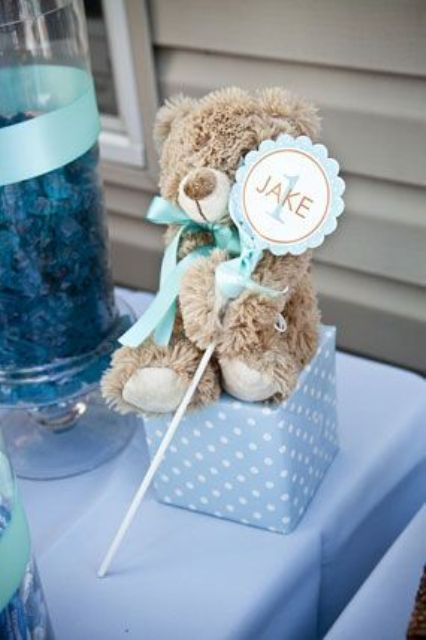 teddy bear blue cube centerpiece with a name