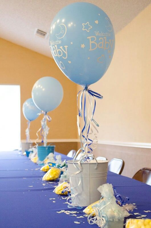 a bucket with blue balloons are simple and easy