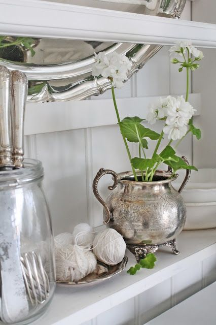 a vintage silver sugar bowl makes really a refined planter