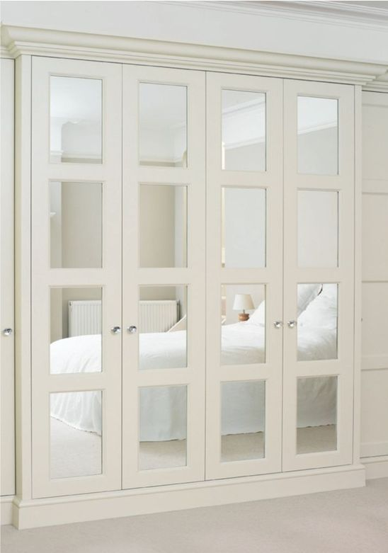 accordion-style mirror closet doors for an elegant touch