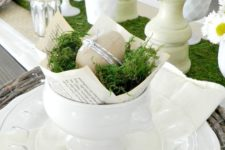12 clear white plates, a bowl with moss and paper mache eggs