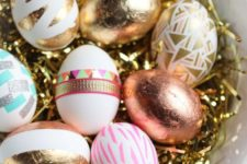 12 foil and washi tape Easter eggs