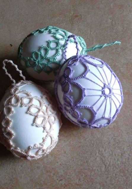 pastel lace covers for Easter eggs if you don't want to dye them