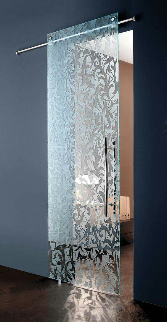 stunning frosted glass barn door with a chic modern feel