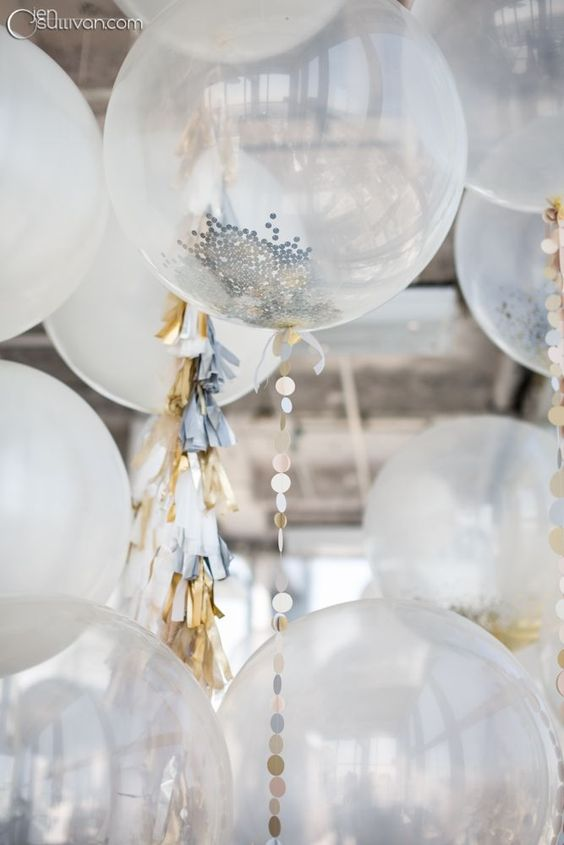 white and sheer are popular for engagement balloons, spruce them up with glitter and confetti