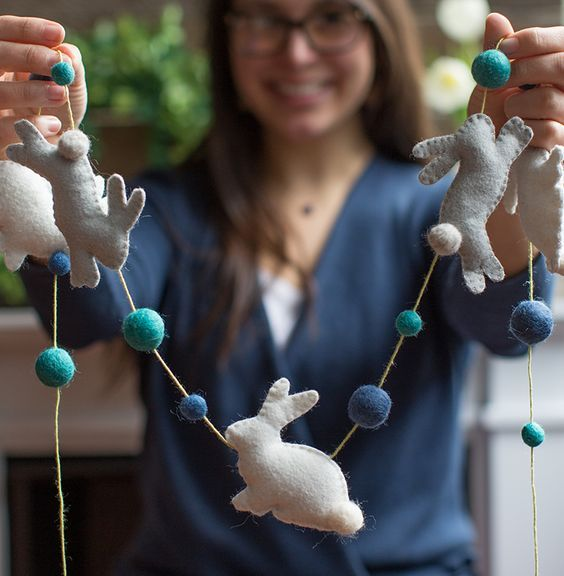 a felt bunny and bead garland for Easter